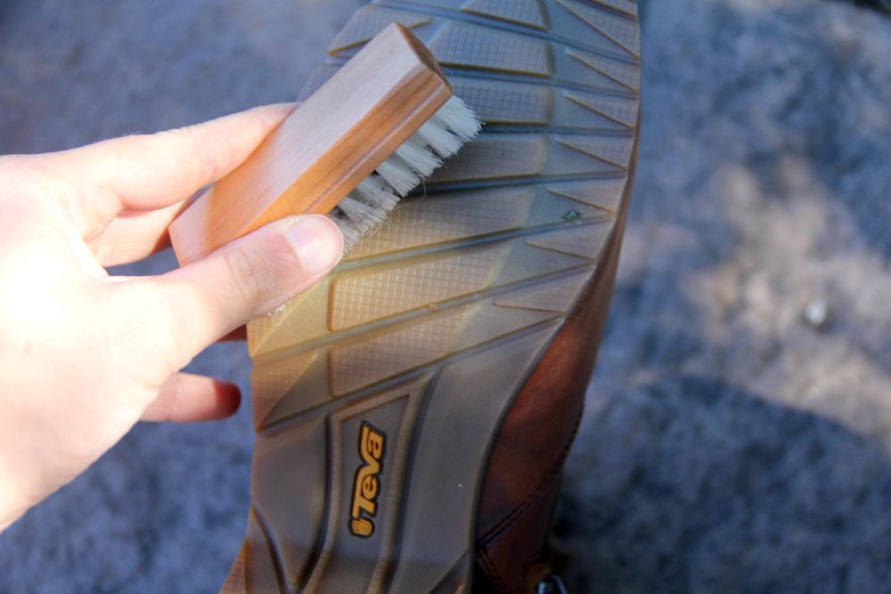 Brushing the bottom of Teva Boots