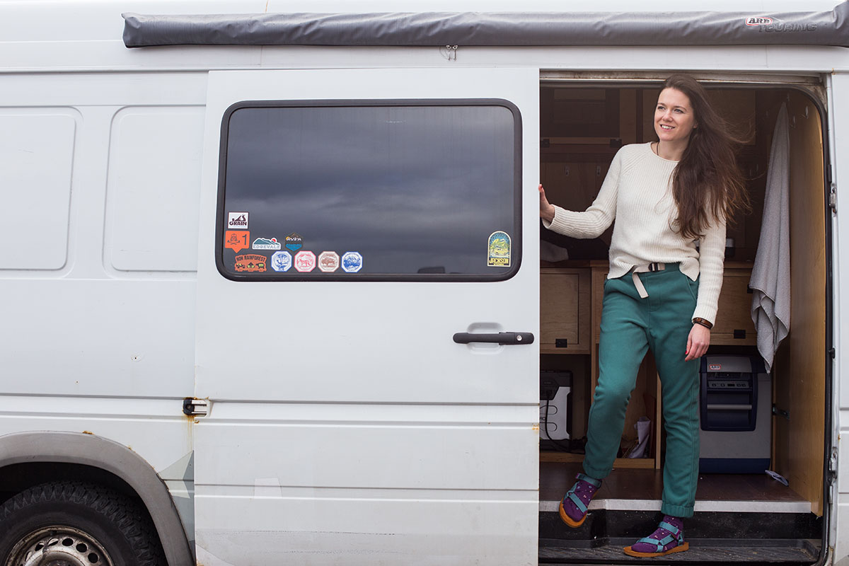 Gale Straub Teva in the van