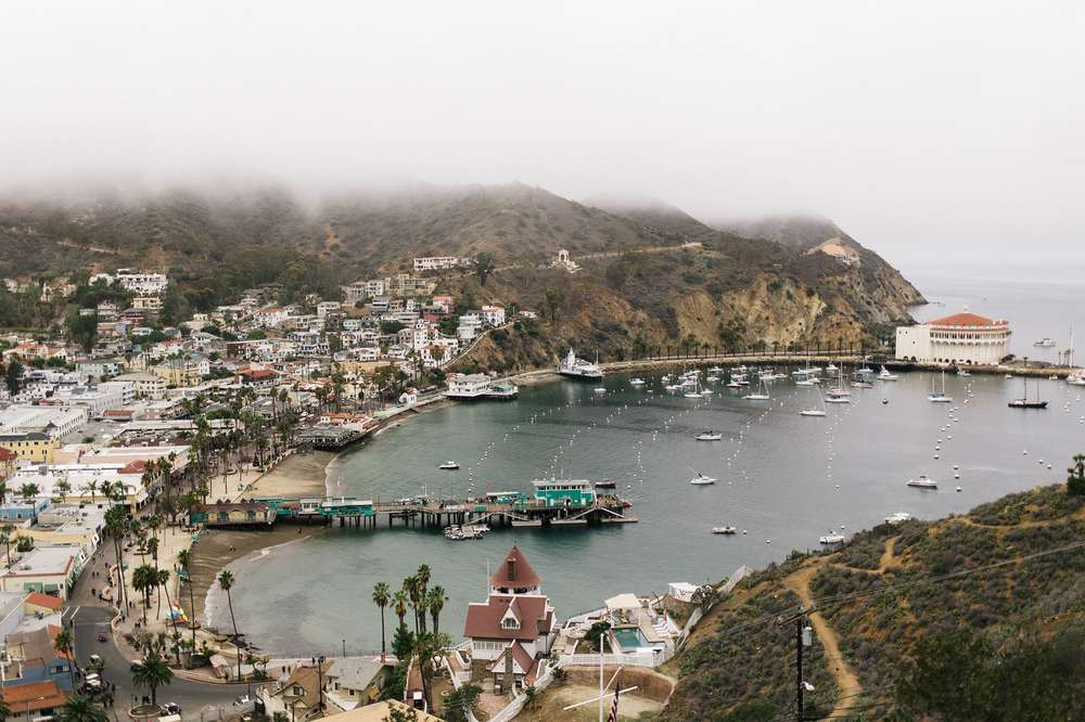 The fog rises over Catalina Island.