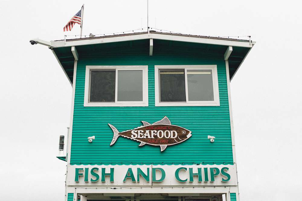 The front of a Fish and Chips shop on Catalina island.