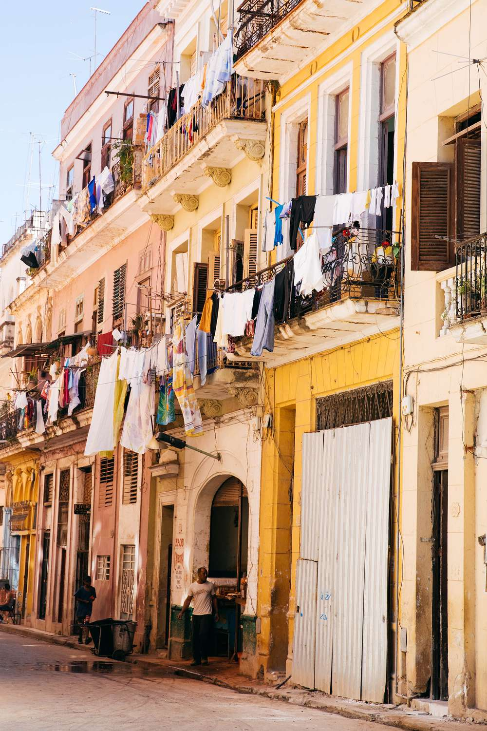 Laundry hanging in city street Cuba