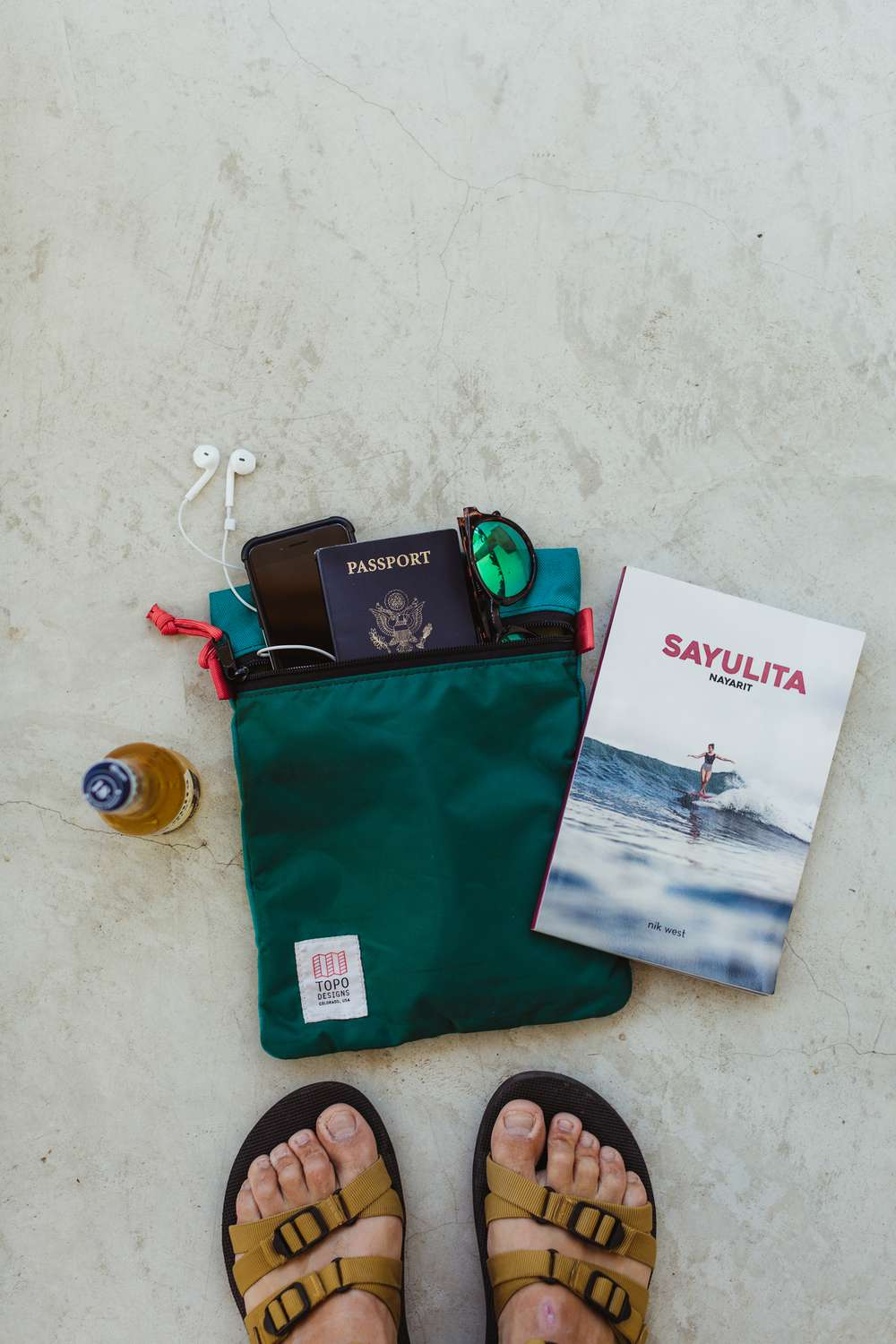 Point of view look at packing bag in Sayuita, Mexico.