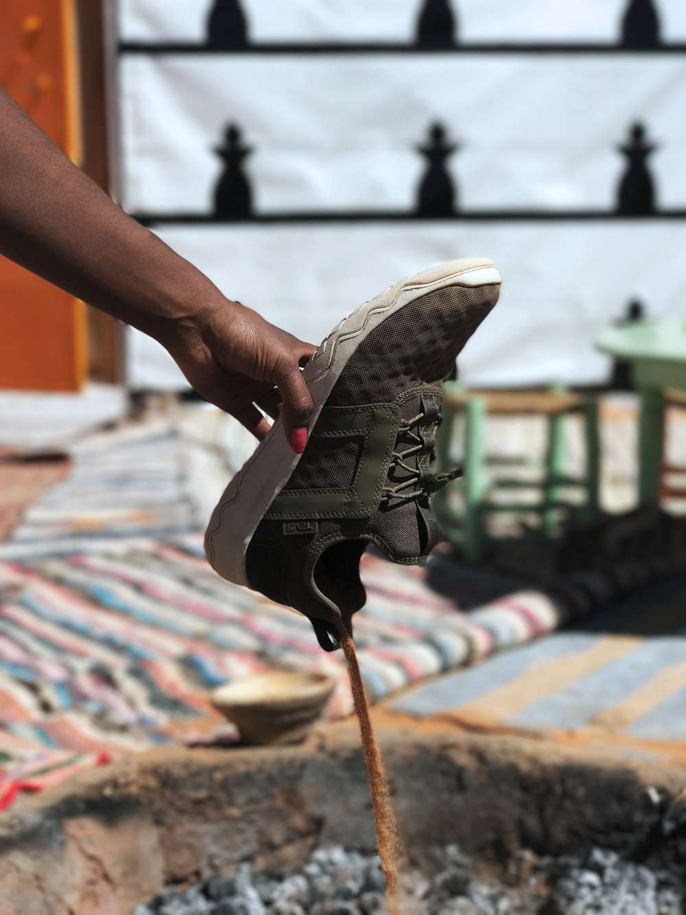 Sand pouring out of Arrowood Swift sneaker