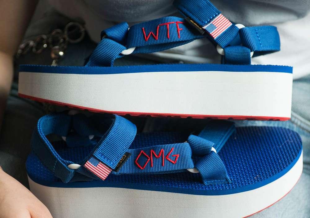 DIY: Embroidered Fourth of July Flatform Sandals