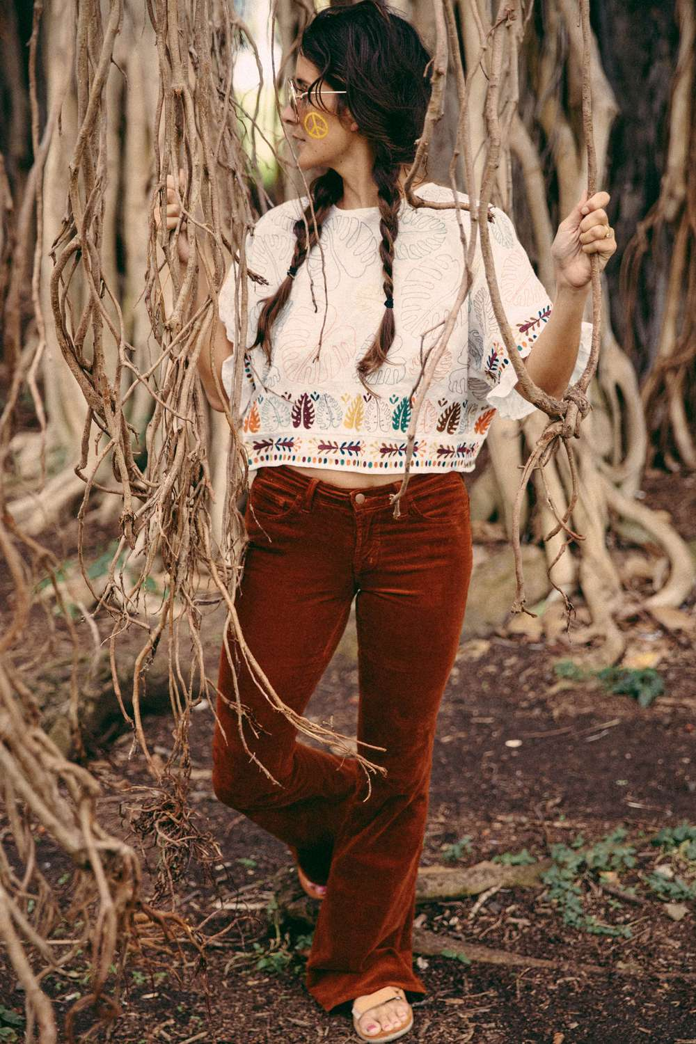 Tara Rock wearing a Woodstock inspired outfit