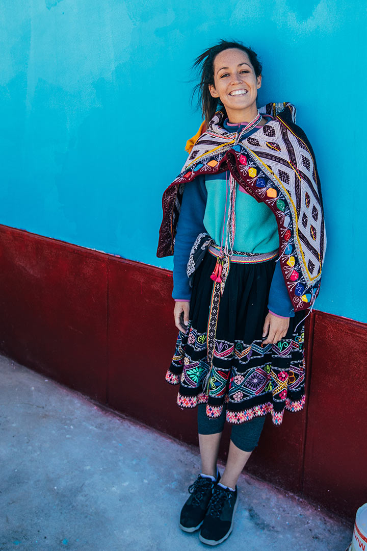 Kylie Fly in traditional Peruvian clothing.