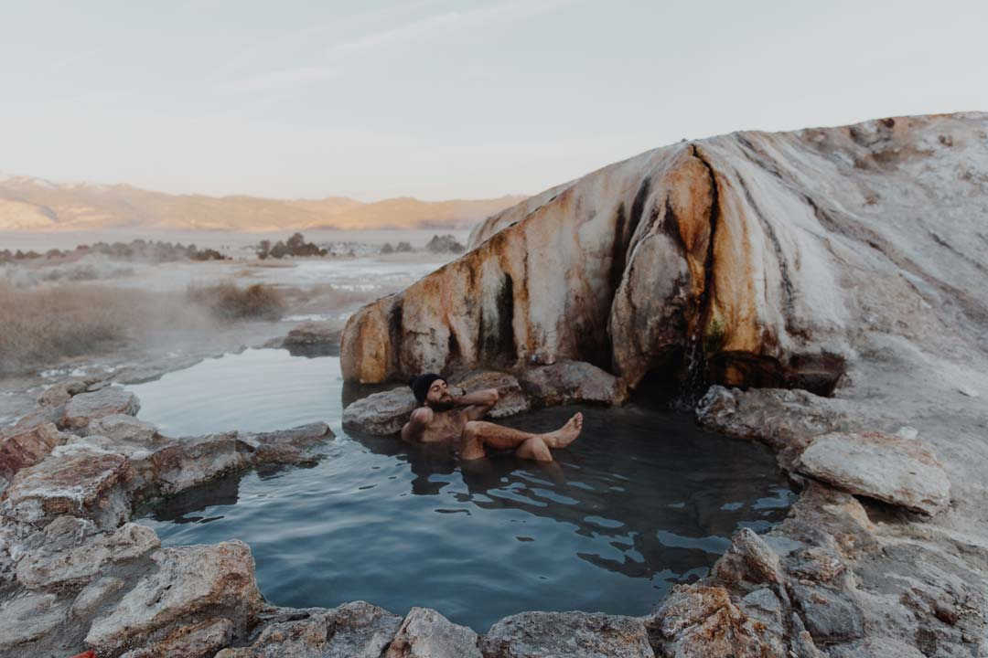 Andy Cochrane relaxes in a hot spring near Lone Pine, California.