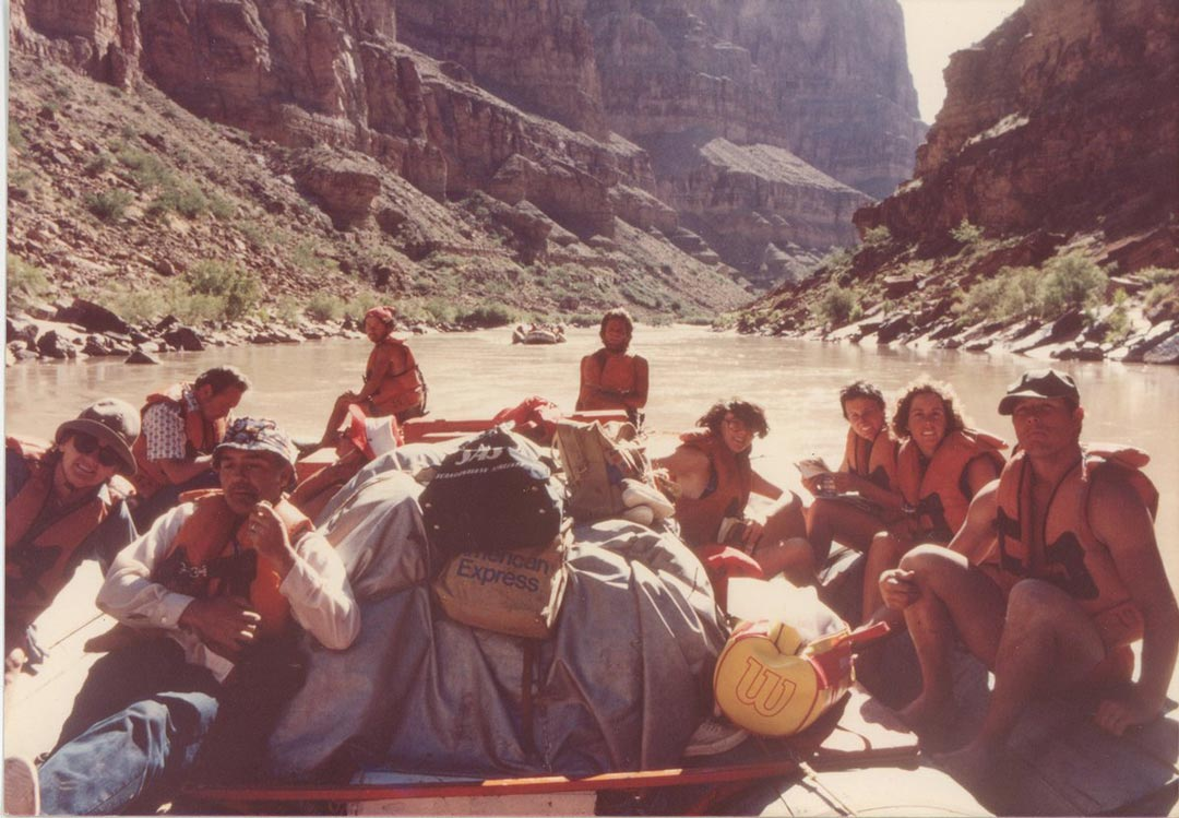 Mark Thatcher and friends on the Grand Canyon.
