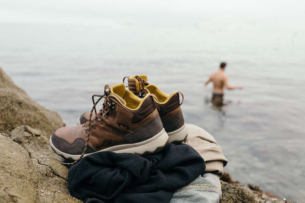 Going swimming in the cold water off Catalina island while the Teva Men's Arrowood sneakerboot waits back on dry land.