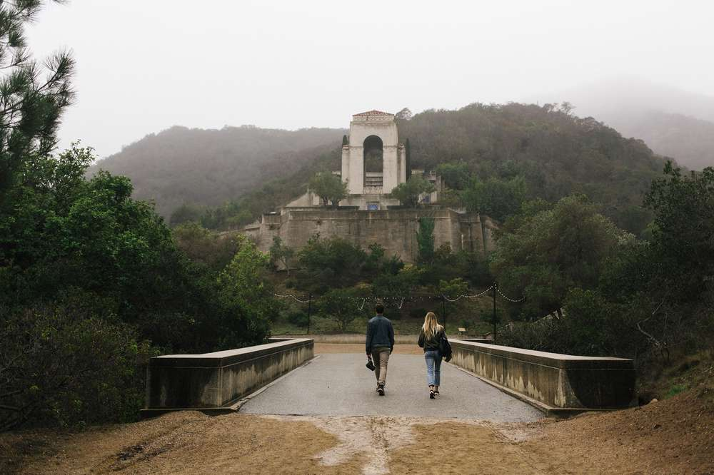 Wrigley Memorial looms in the fog on Catalina island.