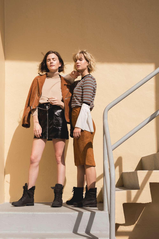 Fashion bloggers Lisa Dengler and Madelynn Furlong wearing the Teva De La Vina Lace boot in Miami.