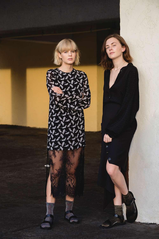 Fashion bloggers Lisa Dengler and Madelynn Furlong wearing the Teva Patent Leather Original sandal in Miami.