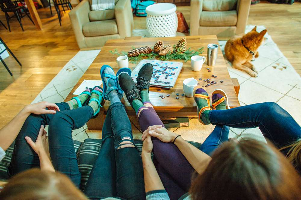 Kylie Fly and friends wear Teva sandals and socks while enjoying a girls' weekend in Tahoe.