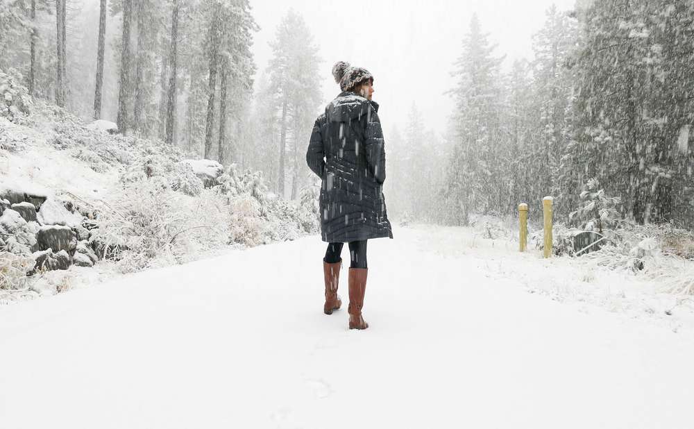 0c26b0cddddc Laura Lawson Visconti walks down a snowy Truckee road wearing the Teva  women s Foxy Tall leather