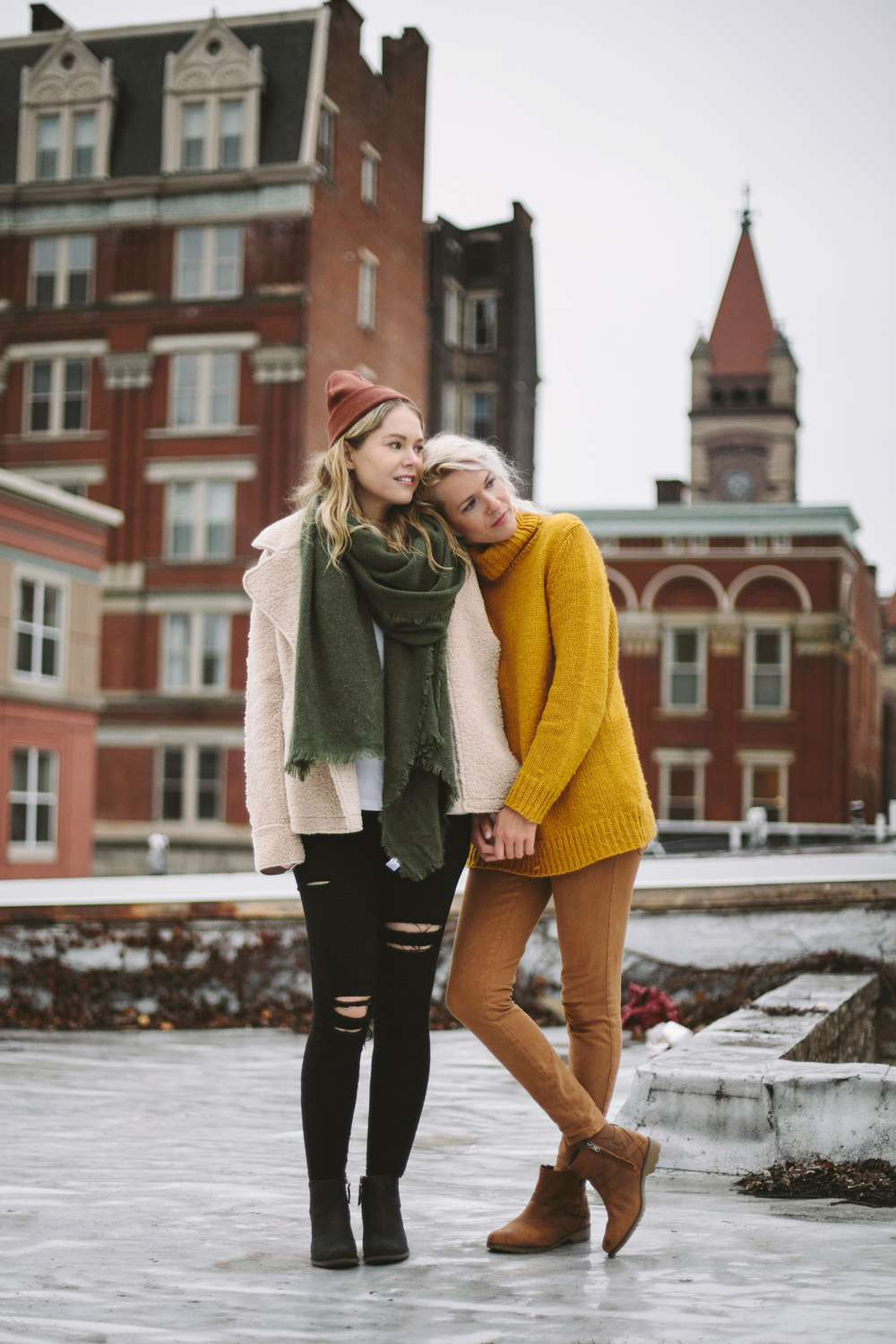 Kate Rentz and her childhood friend enjoying catching up in Ohio wearing Teva boots.