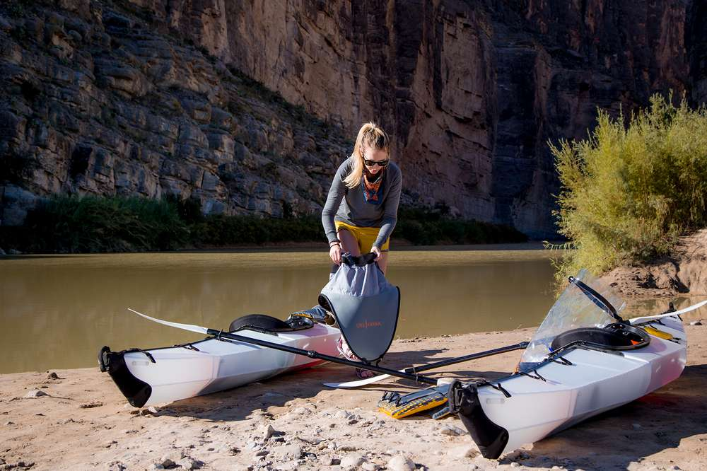 Teva's blog editor Johnie Gall skirts up for a paddle in Big Bend National Park.