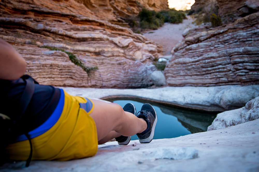 Teva's blog editor Johnie Gall relaxing in the Teva Arrowood WP sneakerboot Big Bend National Park.