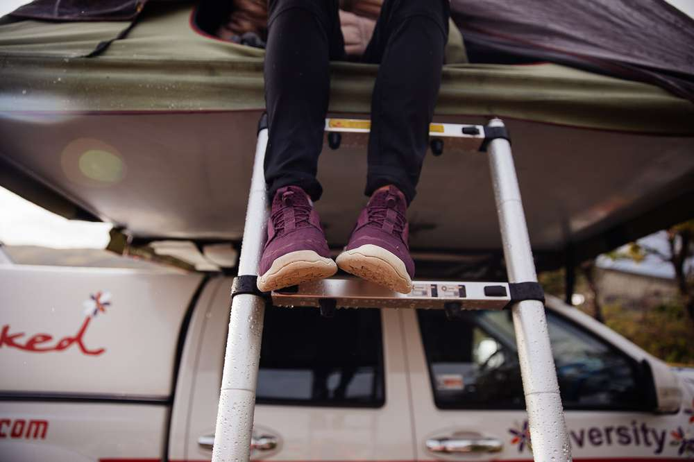 Teva Arrowood Swift Lace on camper ladder.
