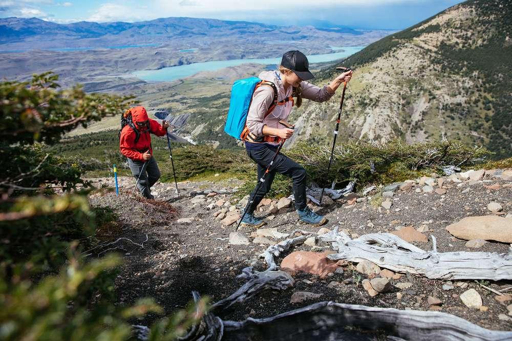 Couple hiking Ascencio Valley Patagonia