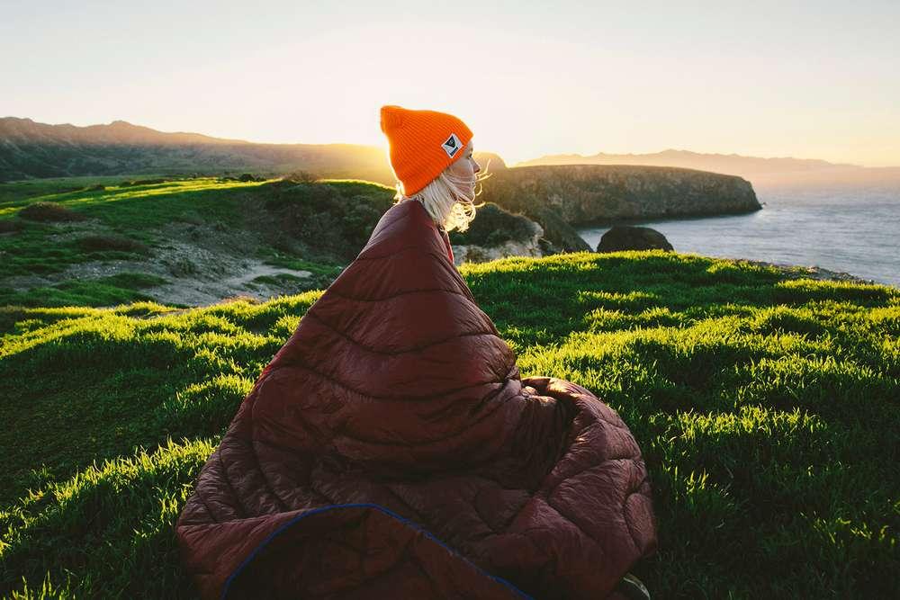 Woman in Rumpl Santa Cruz Island