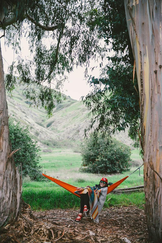 Women in hammock between trees