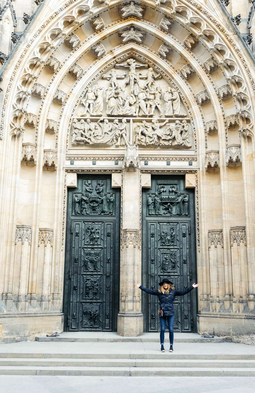 Laura Lawson Visconti by church doorway Germany