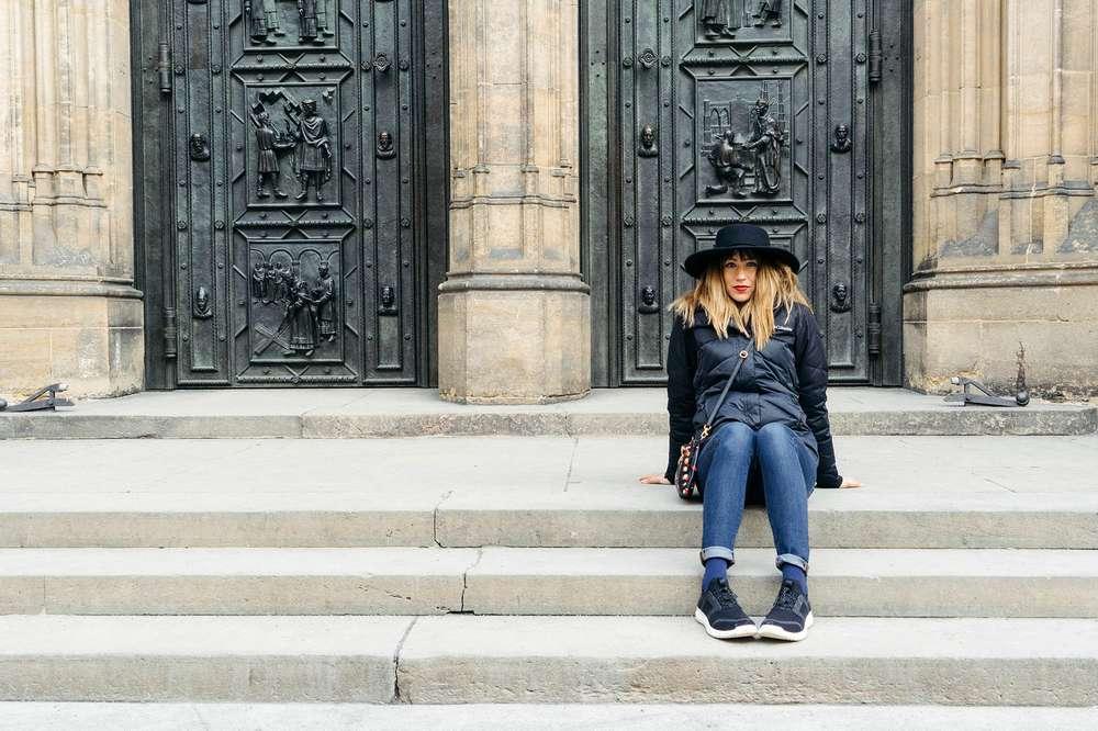 Laura Lawson Visconti sitting stairs