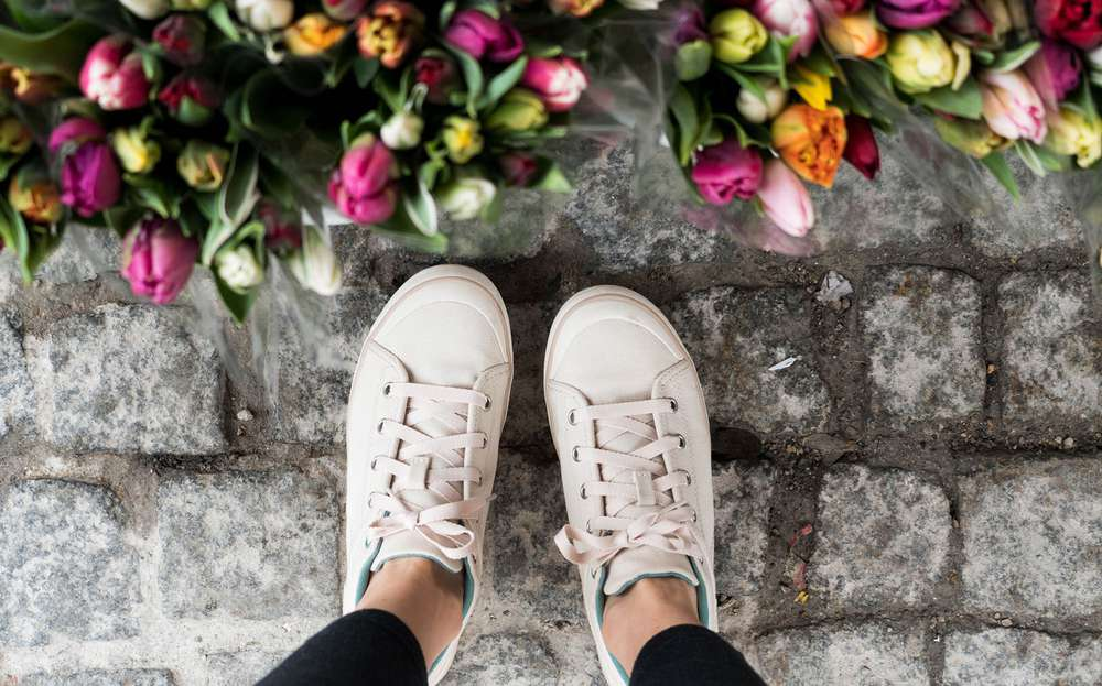 Sneakers and tulips