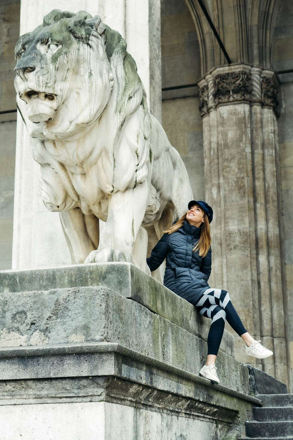 Laura Lawson Visconti with statue in Germany