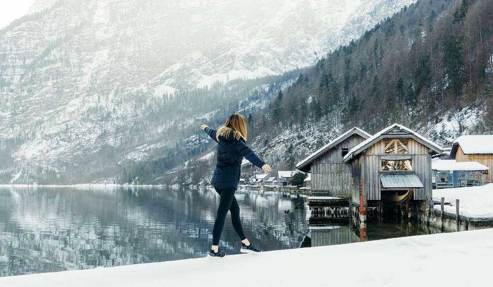 Laura Lawson Visconti walking in snow in Germany