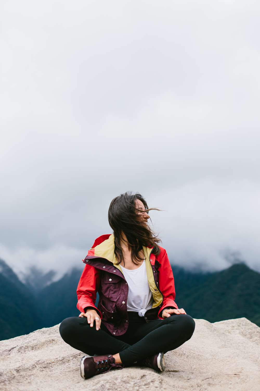 Abigail Demyanek sitting Machu Picchu