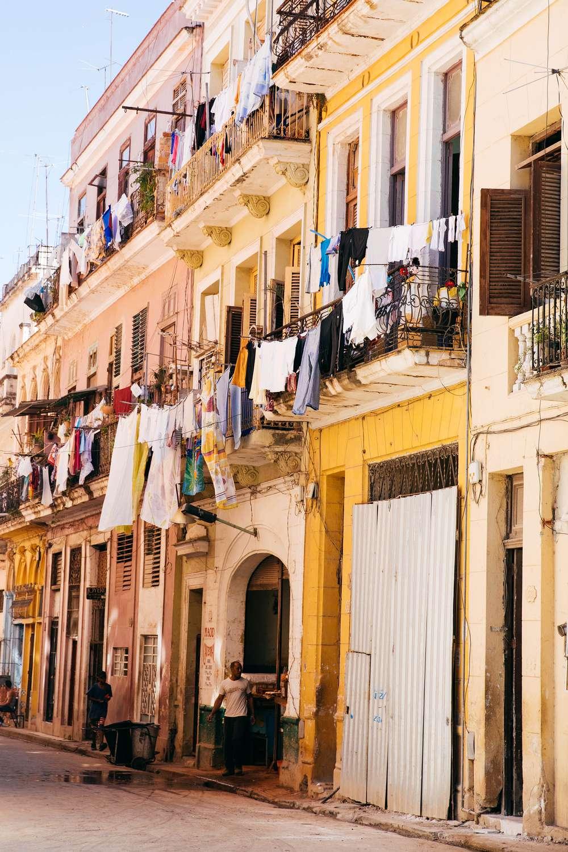 Laundry hanging in city street Cuba