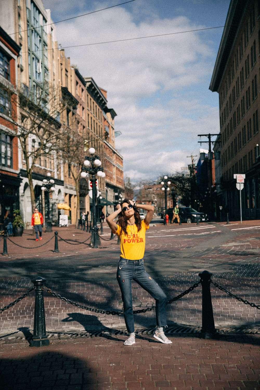 Kiara Schwartz poses in Gas Town, Vancouver