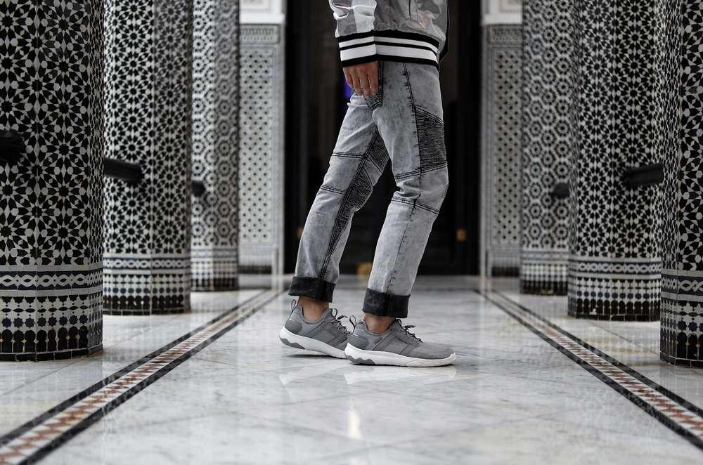 Man wearing Arrowood Swift sneakers in tiled hallway Morocco