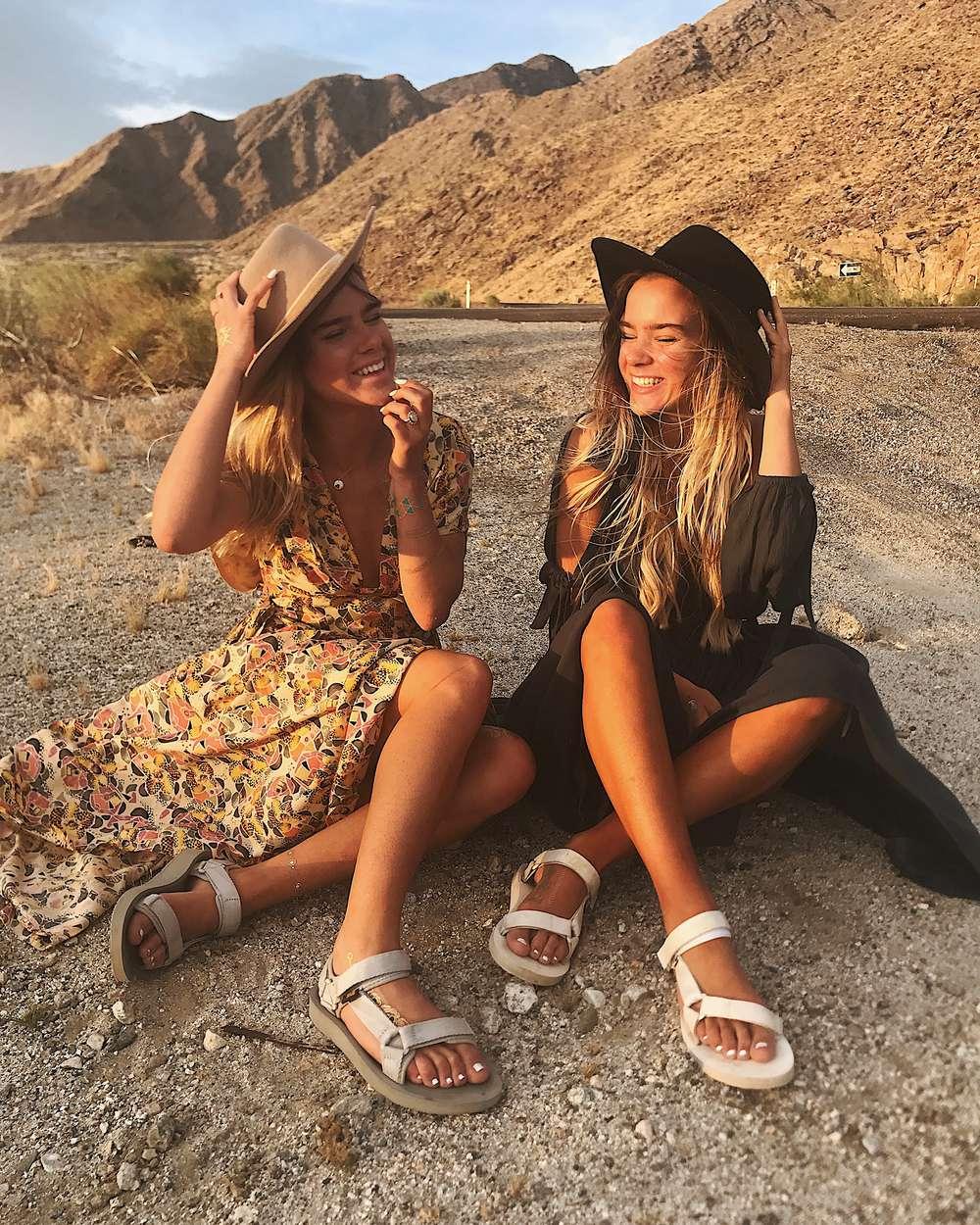 Twins Tess and Sarah Behannon at Coachella