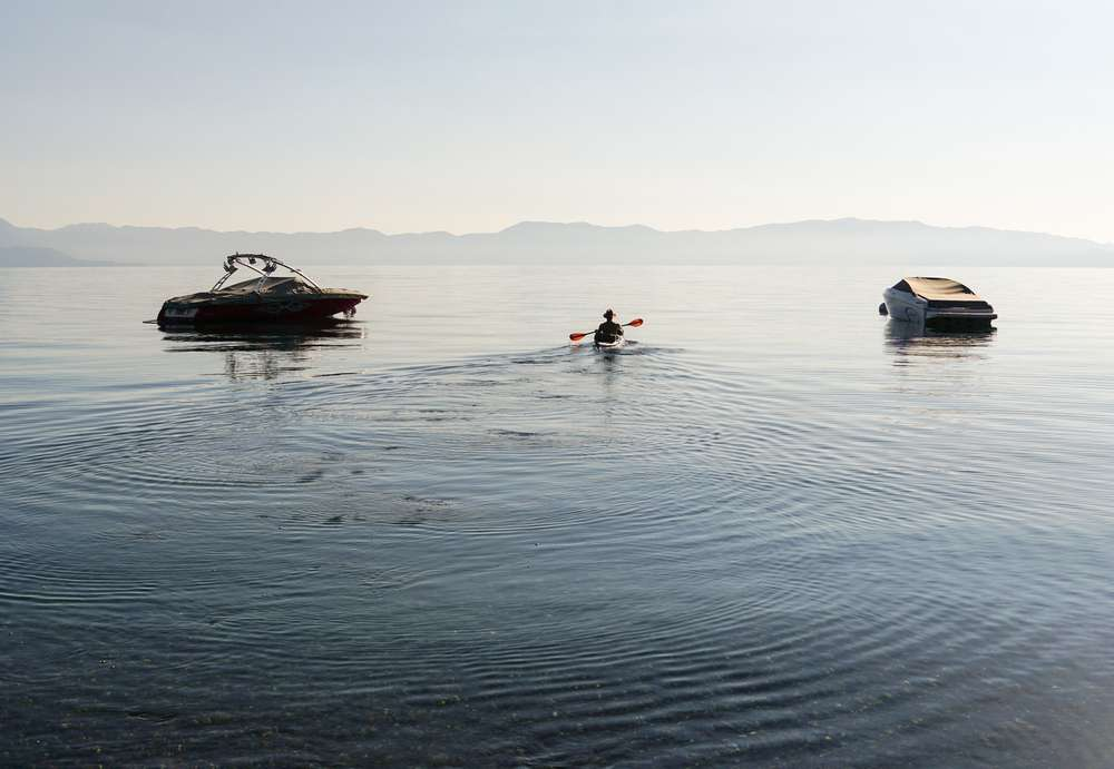 Photo of a kayaker on Lake Tahoe