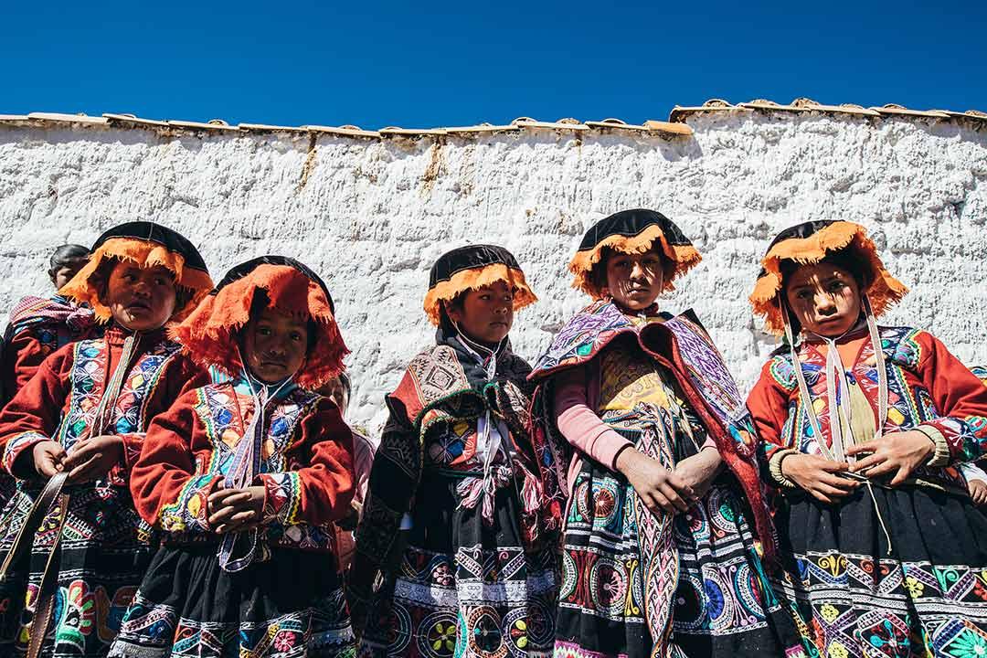 Peruvian children in traditional dress.
