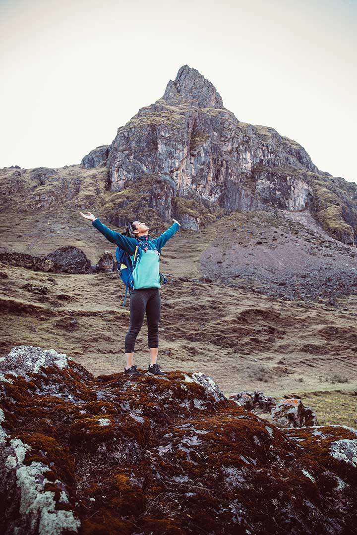 Kylie Fly hiking in Peru.