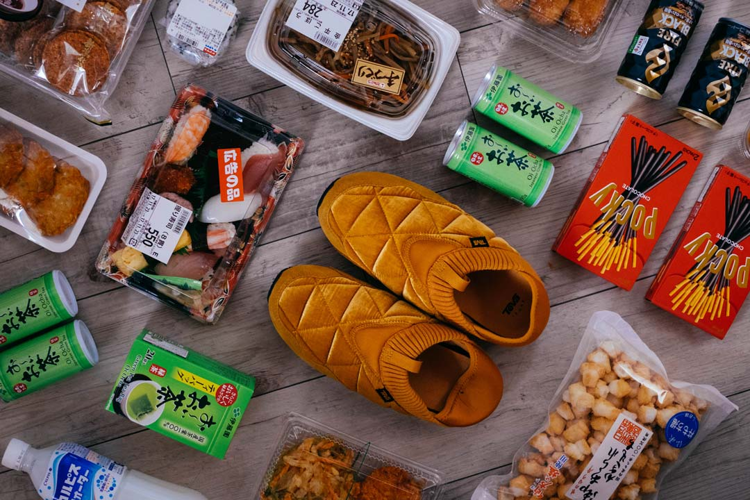 The Ember Moc next to Japanese snacks.