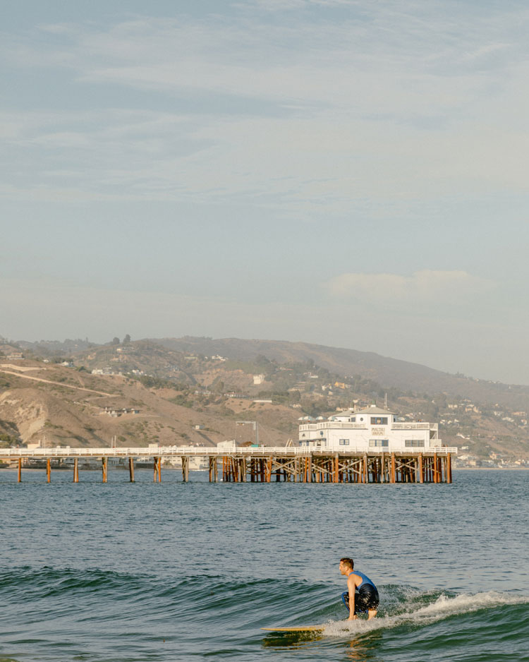 Surfing at Malibu