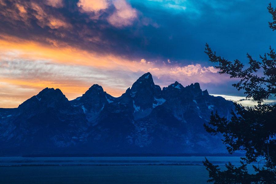 Grand Tetons at sunset