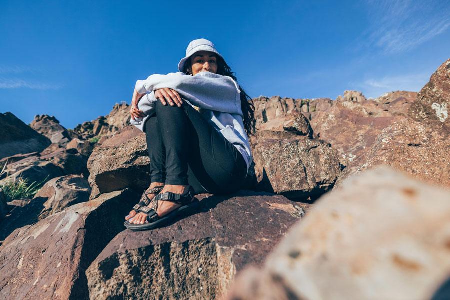 Maria Ayala in the desert