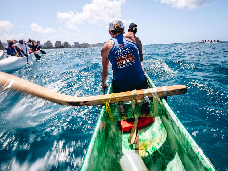 Outrigger canoe paddling in Hawaii.