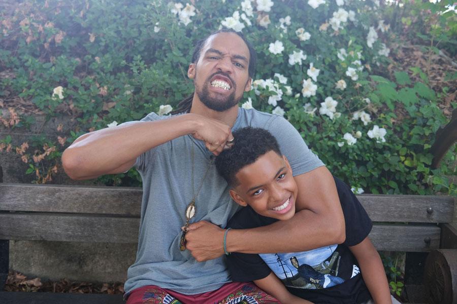 Pierce Freelon and his son.