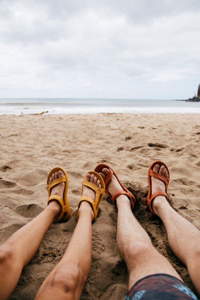 Hanging out on the beach in the Hurricane Drift sandals
