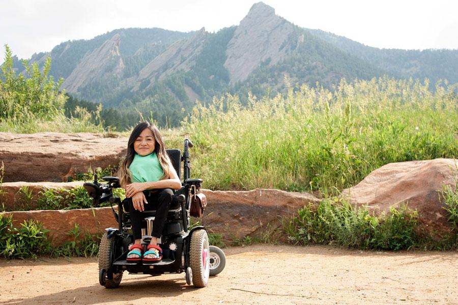 Disability activist Teresa Nguyen explores Chautauqua Park in Boulder.