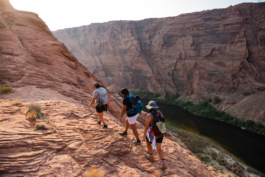 Hiking canyons.